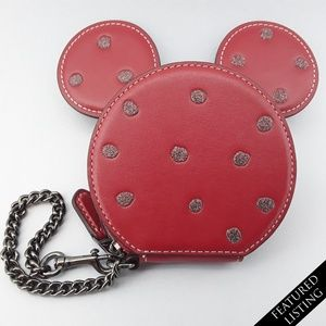 New Coach Disney Coin Purse Minnie Mouse Ears Red